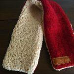 縮んだ手編みのカーディガンをリメイクしてマフラーを作る