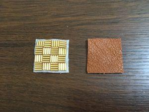 ビーズ刺繍と革を切る