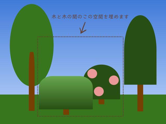 低木を植える場所